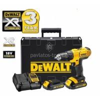 Κρουστικό δραπανοκατσάβιδο Dewalt μπαταρίας DCD776C2 18V Li XR 1,3Ah