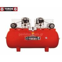 Αεροσυμπιεστής Toros 1000/10+10 400V 1000lt 10+10hp τριφασικό 13659