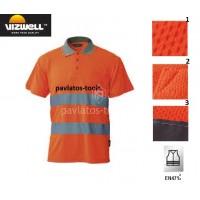 Polo T-shirt Viswell υψηλής διακριτότητας Venice πλέξης bird eye πορτοκαλί VWPS01B 725106-08