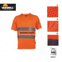 Polo T-shirt Viswell υψηλής διακριτότητας Verona πλέξης bird eye πορτοκαλί VWTS01B 725125-28