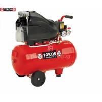 Αεροσυμπιεστής Toros μονομπλόκ EM24/2 24lt 2hp 40141