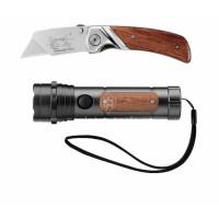 Σετ αναδιπλούμενο μαχαίρι Stanley με ξύλινη λαβή+φακός με ξύλινη λαβή 0-10-074