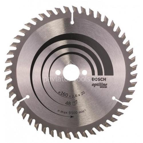 Δίσκος ξύλου Bosch Φ160Χ20 mm με 48 δόντια Optiline 2608640732