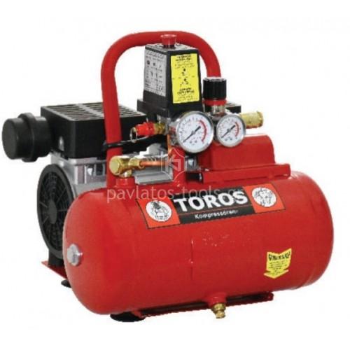 Αεροσυμπιεστής TOROS oil free silent (χαμηλού θορύβου) 6ltr 0.75hp 40150