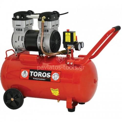 Αεροσυμπιεστής TOROS oil free silent (χαμηλού θορύβου) 50ltr 1.55hp 40152