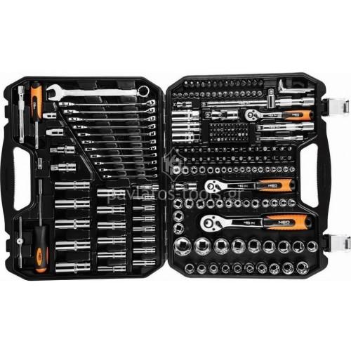 Σετ Neo tools 1/2''-1/4''-3/8'' με καστάνιες καρυδάκια και προέκταση 219 τεμαχίων 08-671 421637