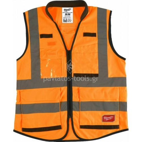 Ανακλαστικό Γιλέκο εργοταξίου Milwaukee πορτοκαλί 4932471898-1900