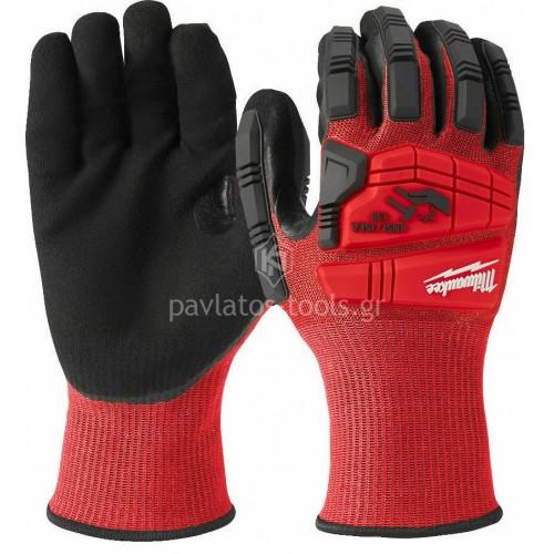 Γάντια εργασίας Milwaukee κρουστικά+κοπής Impact CUT LEVEL 3 4932478127-30