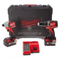 Σετ Milwaukee Κρουστικό Δραπανοκατσάβιδο+Παλμικό Κατσαβίδι M18™ BRUSHLESS POWERPACK M18 BLPP2B-502C 4933448451