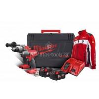 """Σετ εργαλείων Milwaukee κρουστικό δραπανοκατσάβιδο 2 ταχυτήτων & Μπουλονόκλειδο 1/2"""" M18 FPP2G 502X Fuel Promo Pack 4933459035"""