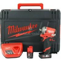 """Μπουλονόκλειδο Milwaukee 12V Brushless M12 FIWF12-422X 1/2"""" (1x2.0+1x4.0 Ah) 4933464616"""
