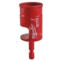 Αδαμάντινο ποτηροτρύπανο Milwaukee χωρίς κρούση με υποδοχή Hex 1/4 25mm 49560517