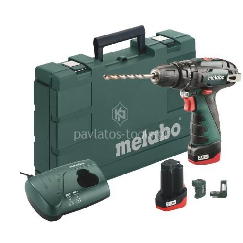 Κρουστικό Δραπανοκατσάβιδο Metabo 10,8V (2x2.0Ah) 2 ταχυτήτων PowerMaxx SB Basic Set με τροφοδοτικό 6.00385.91