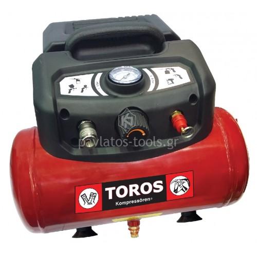 Αεροσυμπιεστής μονομπλόκ Toros OILFREE (χωρίς λάδι) 6ltr 1,5HP 602036
