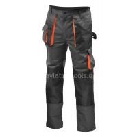 Παντελόνι εργασίας γκρι Unimac με 8 τσέπες και επιθέματα για επιγονατίδες 720113-17