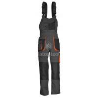 Παντελόνι τιράντα γκρι Unimac με 11 τσέπες και επιθέματα για επιγονατίδες 720119-23
