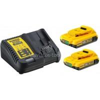 Σετ Dewalt πολυφορτιστής με 2 μπαταρίες 18 Volt 2.0Ah DCB115D2