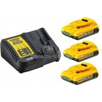 Σετ Dewalt πολυφορτιστής με 3 μπαταρίες 18 Volt 2.0Ah DCB115D3