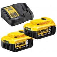 Σετ Dewalt πολυφορτιστής με 2 μπαταρίες 18 Volt 5.0Ah DCB115P2