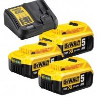 Σετ Dewalt πολυφορτιστής με 3 μπαταρίες 18 Volt 5.0Ah DCB115P3