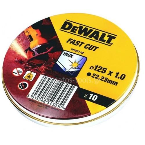 Δίσκοι κοπής Dewalt inox 125x1.0mm σετ 10 τεμαχίων DT3507