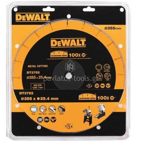 Διαμαντένιος δίσκος Dewalt κοπής μετάλλων 355mm DT3752