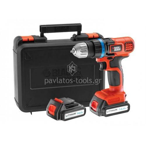 Δραπανοκατσάβιδο Black&Decker 14,4V με 2 μπαταρίες 2 ταχυτήτων EGBL14KB