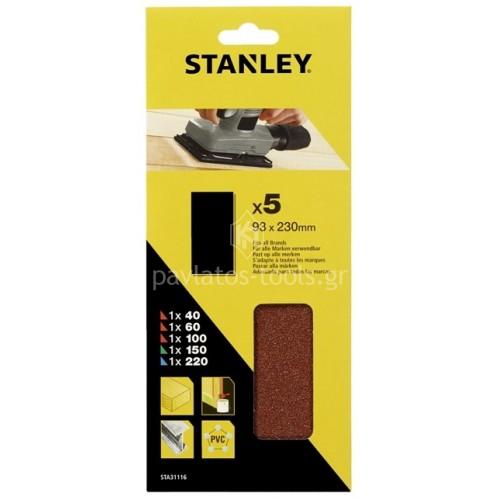 Γυαλόχαρτα Stanley σετ 5 τεμαχίων 93x230mm STA31116