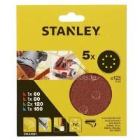 Σετ γυαλόχαρτα Stanley 125mm Quick Fit με διαφορετικές κοκκώσεις STA32047